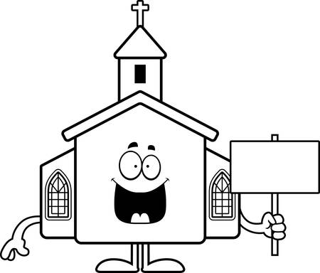 A cartoon illustration of a church holding a sign. Çizim