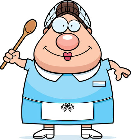 A cartoon illustration of a lunch lady looking happy. Illustration