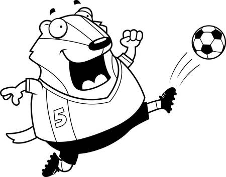 A cartoon illustration of a badger kicking a soccer ball.