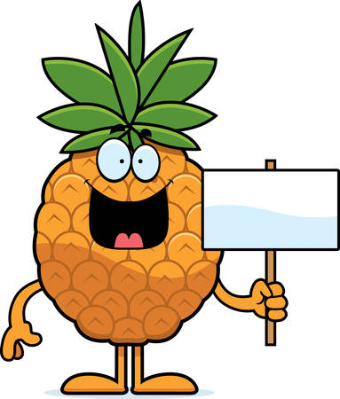 A cartoon illustration of a pineapple holding a sign. Фото со стока - 44512238