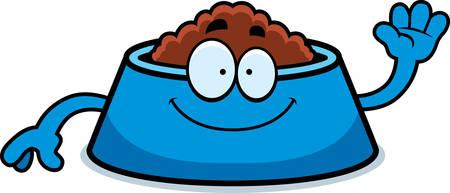 dog bowl: A cartoon illustration of a dog bowl waving. Illustration