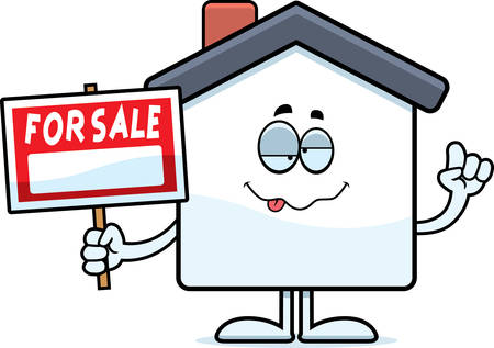 Een cartoon illustratie van een huis te koop zoek dronken. Stock Illustratie