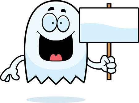 spectre: A cartoon illustration of a ghost holding a sign.