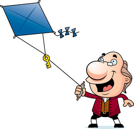 kite: An illustration of a cartoon Ben Franklin flying a kite with a key. Illustration