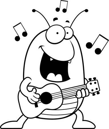 flea: A cartoon illustration of a flea playing the ukulele.
