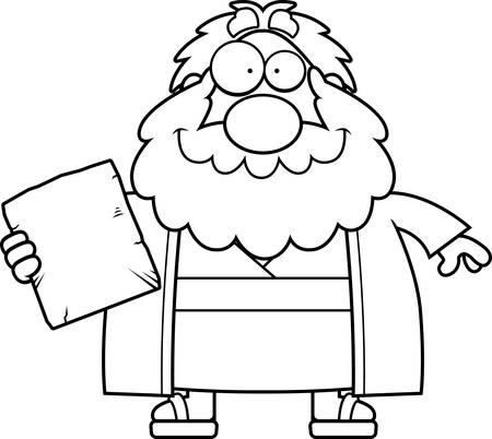 ten commandments: A cartoon illustration of Moses looking happy. Illustration