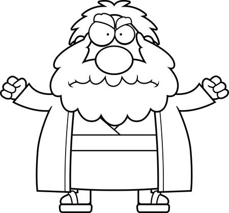 moses: A cartoon illustration of Moses looking angry. Illustration