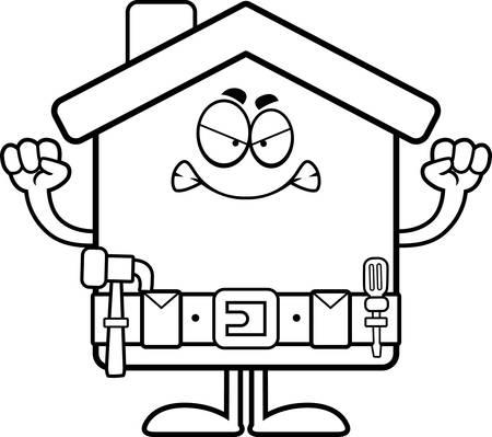 home improvement: A cartoon illustration of a home improvement house looking angry. Illustration