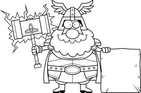 A cartoon illustration of Thor with a sign. Banco de Imagens - 44507321