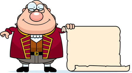 A cartoon illustration of Ben Franklin with a piece of parchment paper. Illustration