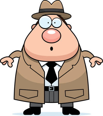 A cartoon illustration of a detective looking surprised.
