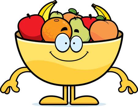 Een cartoon illustratie van een schaal met fruit op zoek gelukkig. Vector Illustratie