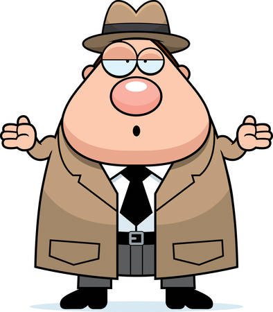 cartoon police officer: A cartoon illustration of a detective looking confused.