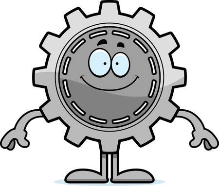 A cartoon illustration of a gear looking happy. Illusztráció