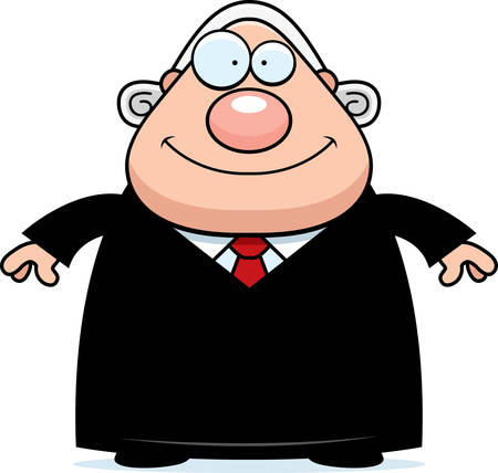 A cartoon illustration of a judge looking happy.
