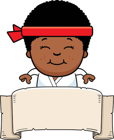 gi: A cartoon illustration of a karate kid with a banner sign.