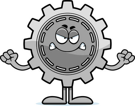 A cartoon illustration of a gear looking angry.