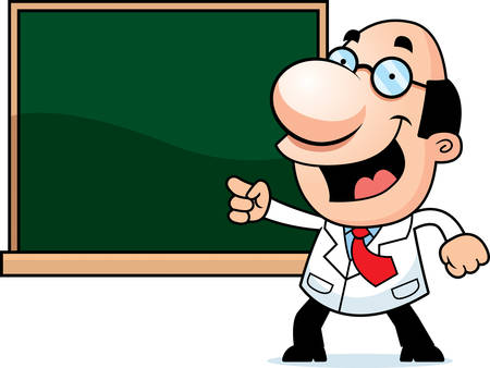An illustration of a cartoon scientist with a chalkboard.