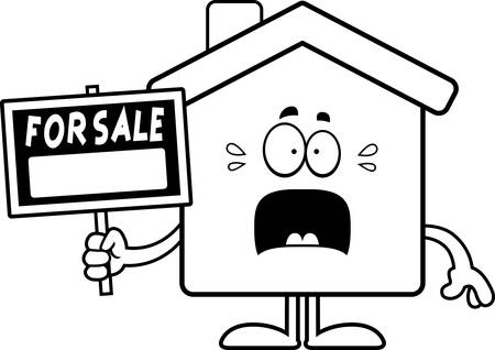home for sale: A cartoon illustration of a home for sale looking scared. Illustration