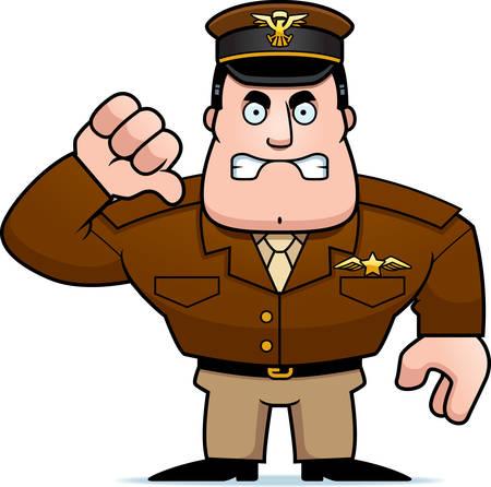 기호 아래로 엄지 손가락을 포기하는 만화 군사 캡틴의 그림.