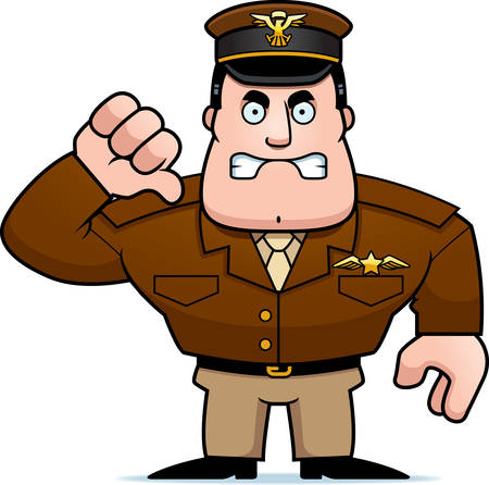An illustration of a cartoon military captain giving a thumbs down sign.