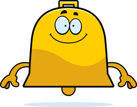 A cartoon illustration of a bell looking happy. 일러스트