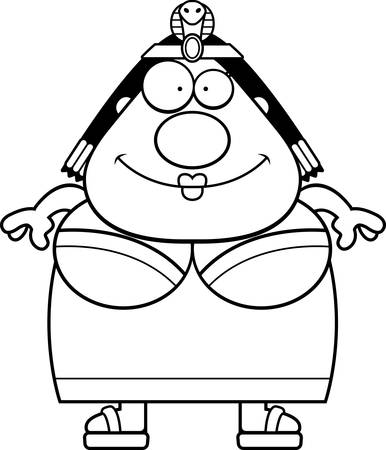 A cartoon illustration of Cleopatra looking happy.