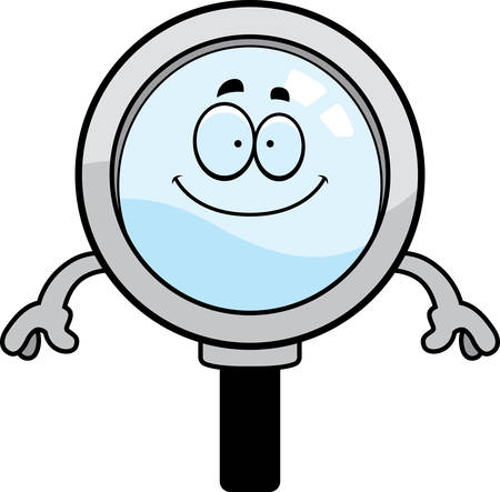 A cartoon illustration of a magnifying glass looking happy.