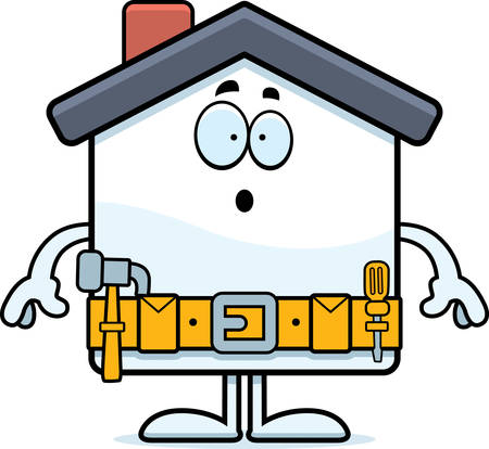 home improvement: A cartoon illustration of a home improvement house looking surprised.