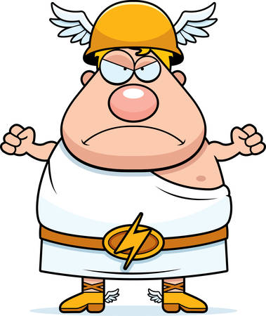 greek god: A cartoon illustration of the Greek god Hermes looking angry.