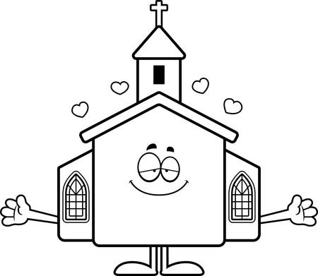 A cartoon illustration of a church ready to give a hug.