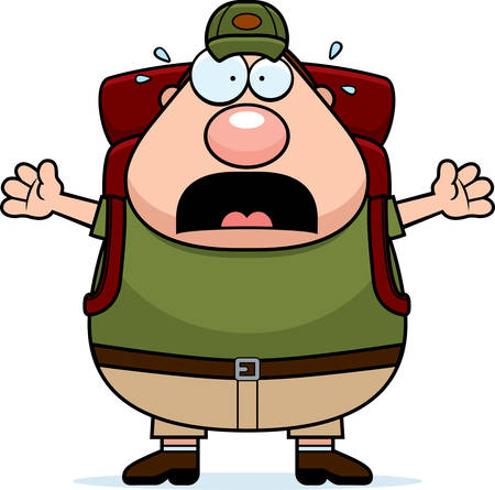 hiker: A cartoon illustration of a hiker looking scared.