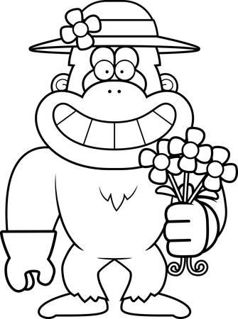 yeti: A cartoon illustration of a yeti gardening in the Spring. Illustration