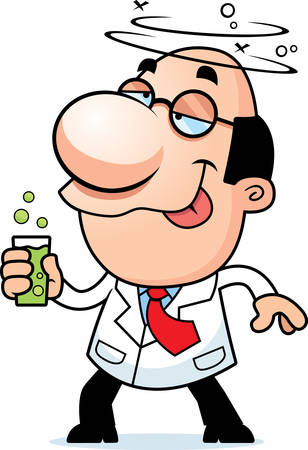 An illustration of a cartoon scientist drinking a bubbling drink.
