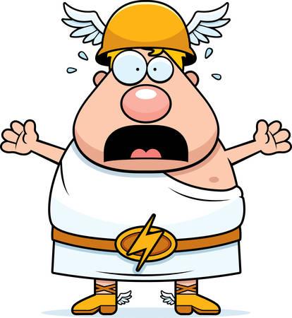 greek god: Un ejemplo de la historieta del dios griego Hermes mirando asustado.