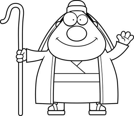crook: A cartoon illustration of a shepherd waving.