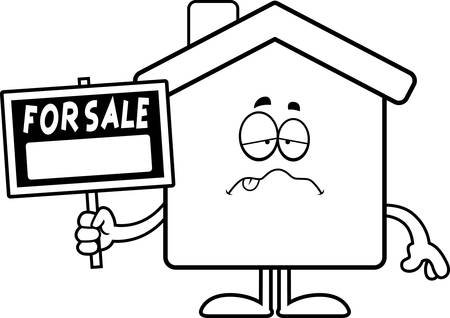 A cartoon illustration of a home for sale looking sick. Illustration