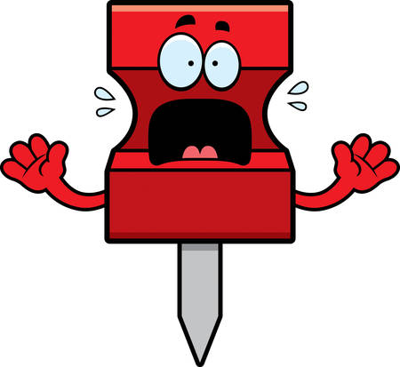 A cartoon illustration of a pushpin looking scared. Ilustração