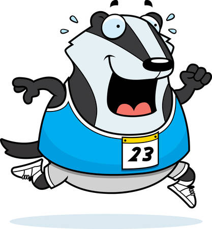 A happy cartoon badger running in a race. Ilustracja