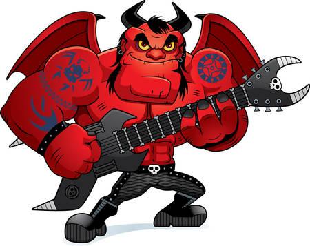 ギターを弾く重金属悪魔の漫画イラスト。  イラスト・ベクター素材