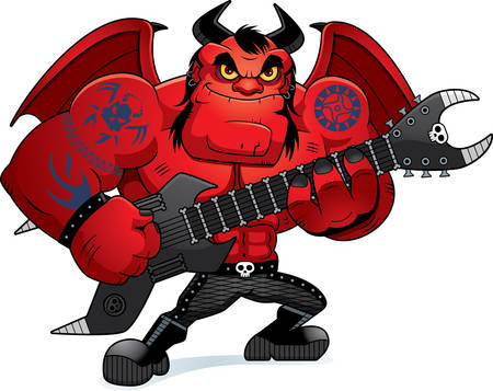 heavy: A cartoon illustration of a heavy metal demon playing guitar.