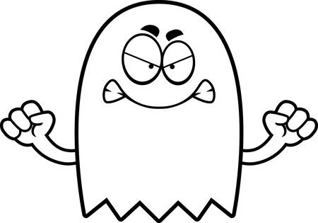the spectre: A cartoon illustration of a ghost looking angry.