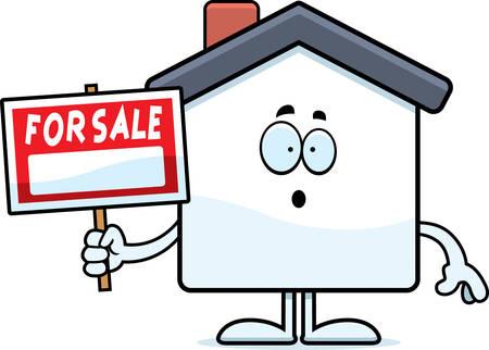 Een cartoon illustratie van een huis te koop op zoek verrast.