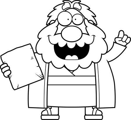 ten commandments: A cartoon illustration of Moses with an idea.