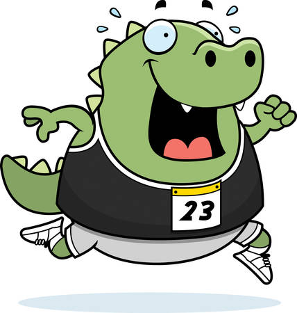 レースで実行して幸せな漫画トカゲ。