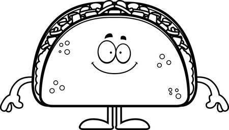 A cartoon illustration of a taco looking happy. Ilustração