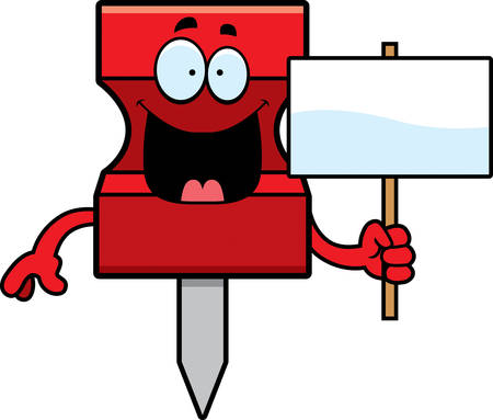 A cartoon illustration of a pushpin holding a sign.