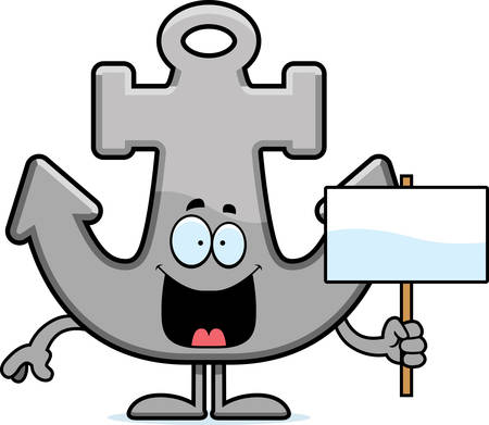 A cartoon illustration of an anchor holding a sign.