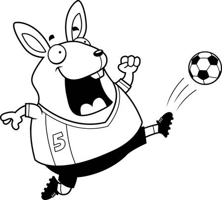 A cartoon illustration of a rabbit kicking a soccer ball.