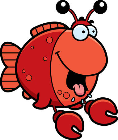 salivating: A cartoon illustration of a fish dressed as a crab looking hungry.